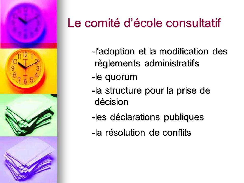 Le comité décole consultatif -ladoption et la modification des règlements administratifs -le quorum -la structure pour la prise de décision -les déclarations publiques -la résolution de conflits