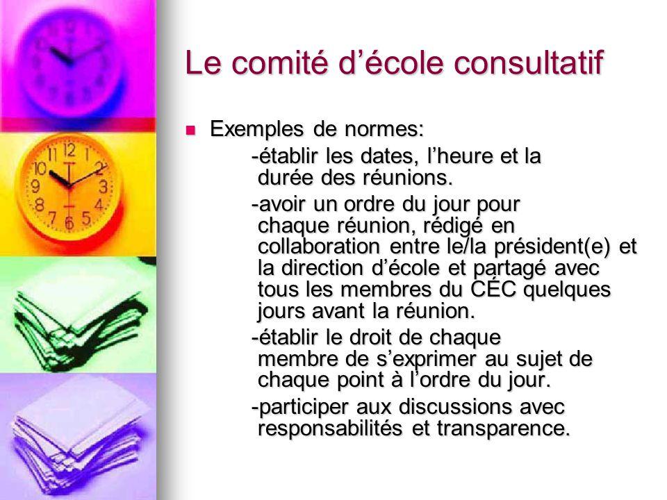 Le comité décole consultatif Exemples de normes: Exemples de normes: -établir les dates, lheure et la durée des réunions.