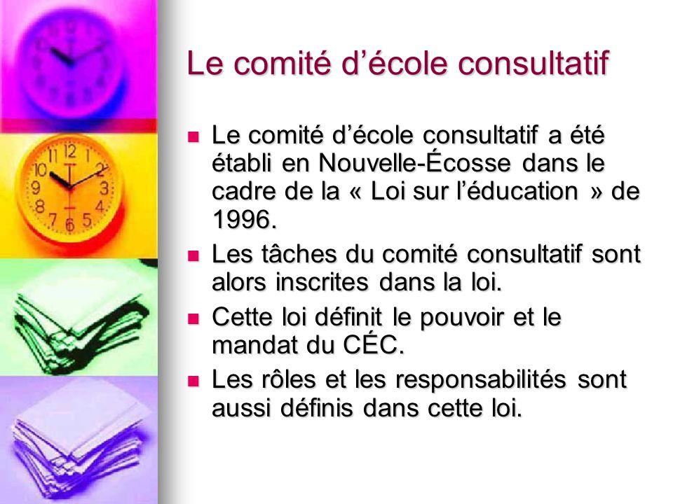 Le comité décole consultatif Ressources: Ressources: -Manuel des comités décole consultatifs de la Nouvelle-Écosse (ébauche fév.