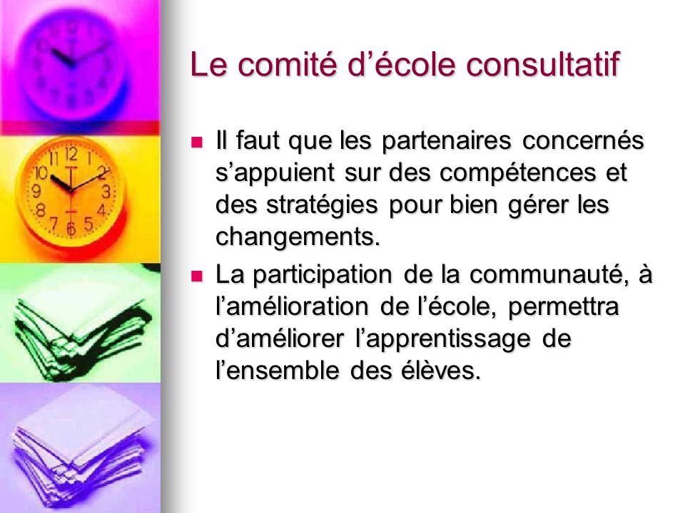 Le comité décole consultatif Il faut que les partenaires concernés sappuient sur des compétences et des stratégies pour bien gérer les changements.