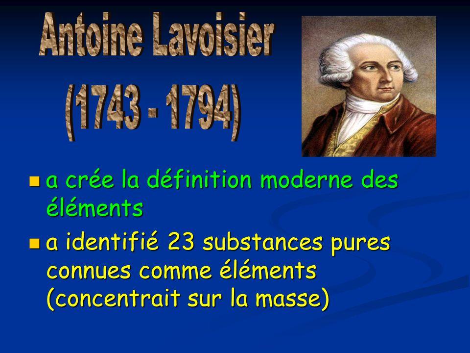 a crée la définition moderne des éléments a crée la définition moderne des éléments a identifié 23 substances pures connues comme éléments (concentrai