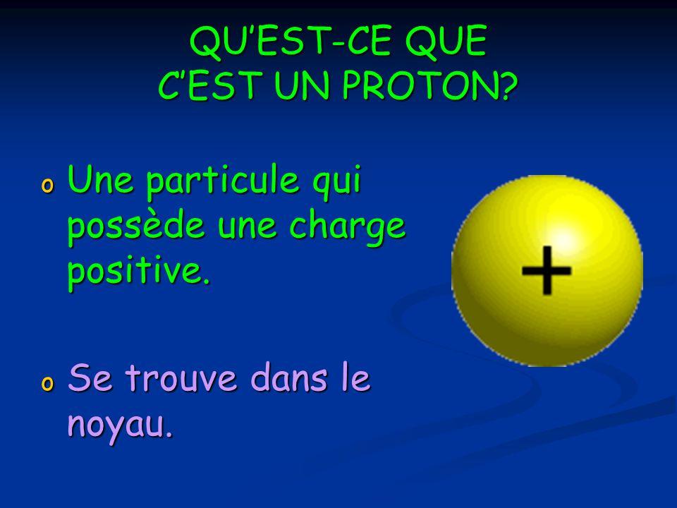 QUEST-CE QUE CEST UN PROTON.o Une particule qui possède une charge positive.