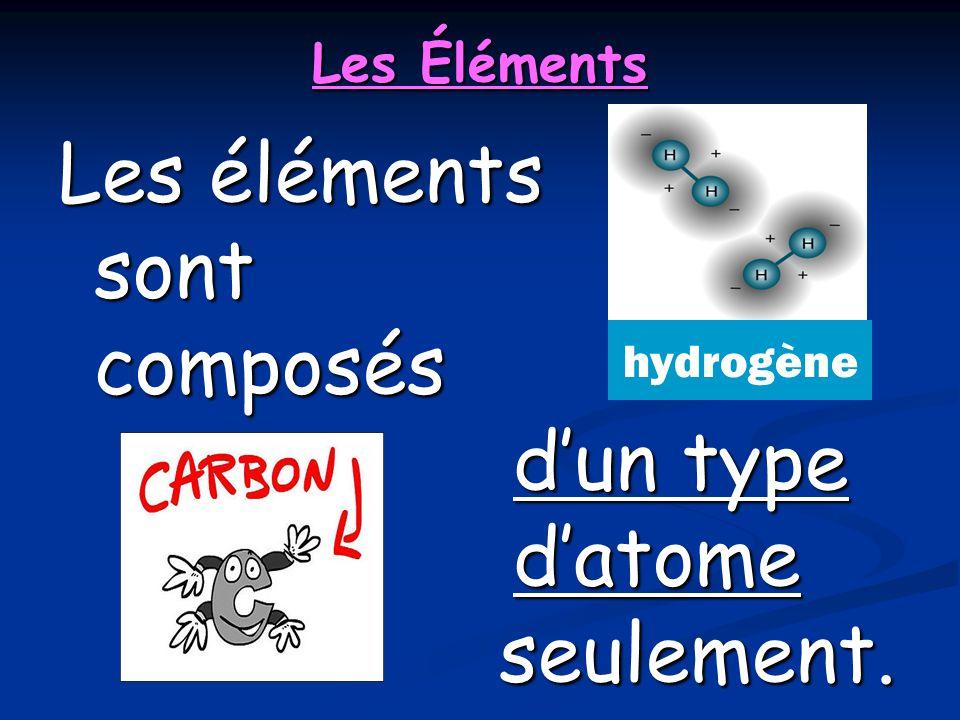 Les Éléments Les éléments sont composés dun type datome seulement. hydrogène