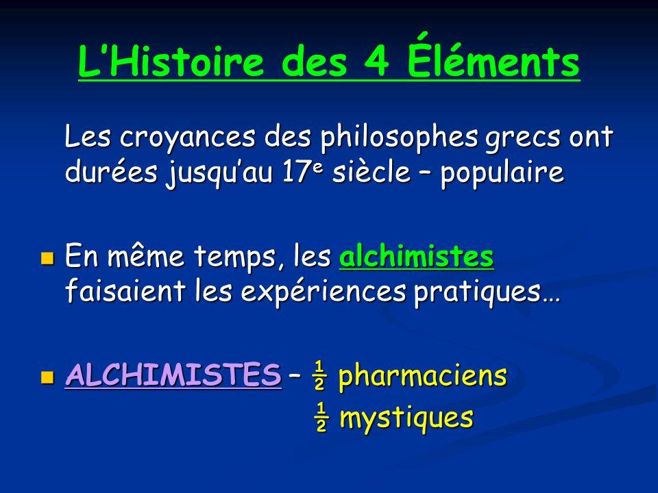 LHistoire des 4 Éléments Les croyances des philosophes grecs ont durées jusquau 17 e siècle – populaire En même temps, les alchimistes faisaient les expériences pratiques… En même temps, les alchimistes faisaient les expériences pratiques… ALCHIMISTES – ½ pharmaciens ALCHIMISTES – ½ pharmaciens ½ mystiques ½ mystiques