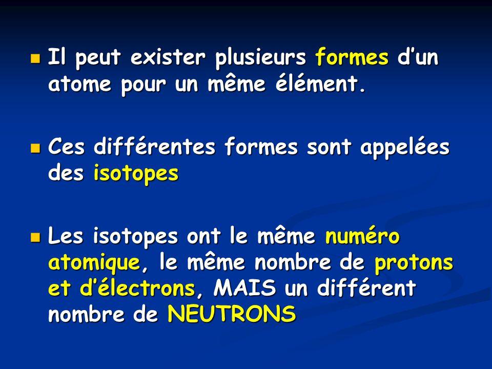 Il peut exister plusieurs formes dun atome pour un même élément. Il peut exister plusieurs formes dun atome pour un même élément. Ces différentes form
