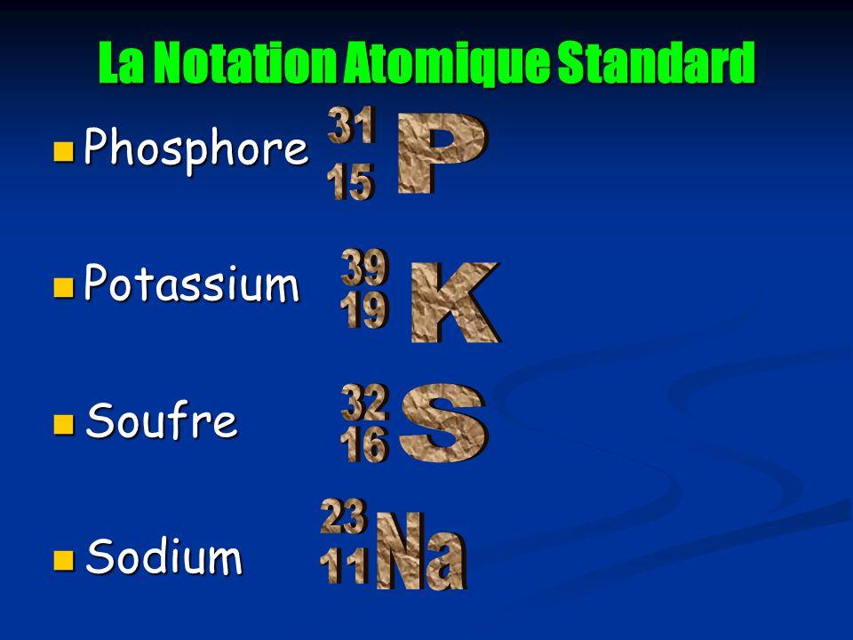 La Notation Atomique Standard Phosphore Phosphore Potassium Potassium Soufre Soufre Sodium Sodium
