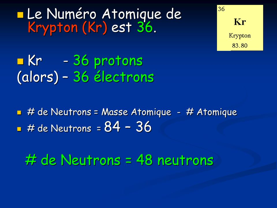 Le Numéro Atomique de Krypton (Kr) est 36.Le Numéro Atomique de Krypton (Kr) est 36.