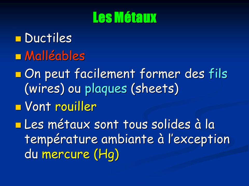 Les Métaux Ductiles Ductiles Malléables Malléables On peut facilement former des fils (wires) ou plaques (sheets) On peut facilement former des fils (