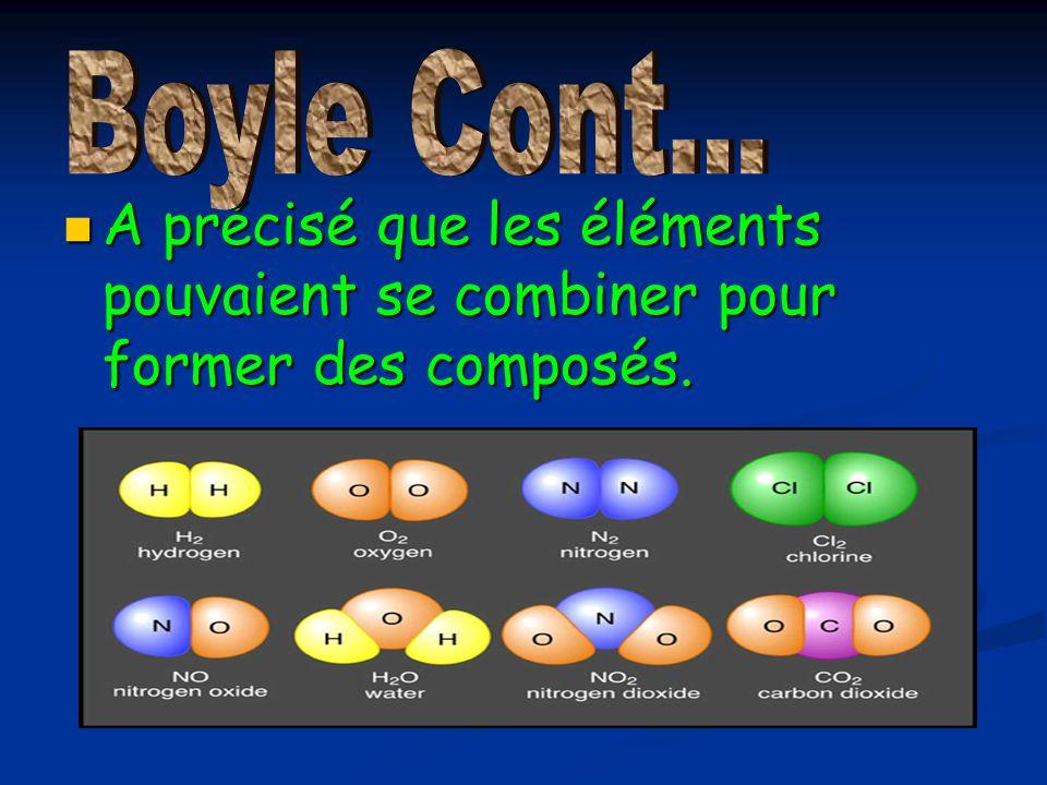 A précisé que les éléments pouvaient se combiner pour former des composés. A précisé que les éléments pouvaient se combiner pour former des composés.