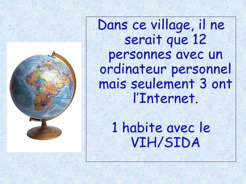 Dans ce village, il ne serait que 12 personnes avec un ordinateur personnel mais seulement 3 ont lInternet. 1 habite avec le VIH/SIDA