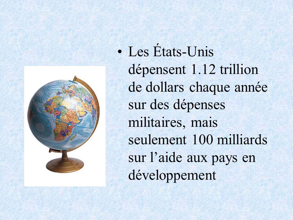 Les États-Unis dépensent 1.12 trillion de dollars chaque année sur des dépenses militaires, mais seulement 100 milliards sur laide aux pays en développement