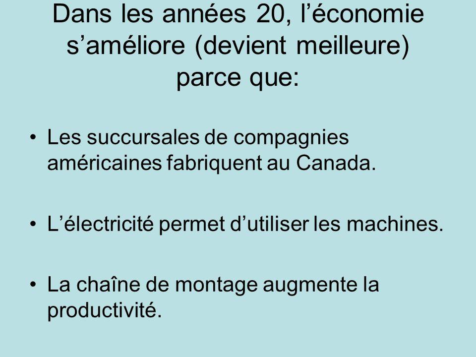 Dans les années 20, léconomie saméliore (devient meilleure) parce que: Les succursales de compagnies américaines fabriquent au Canada.