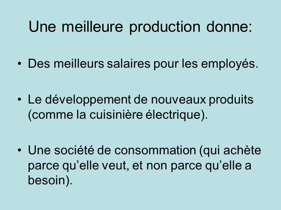 Une meilleure production donne: Des meilleurs salaires pour les employés.