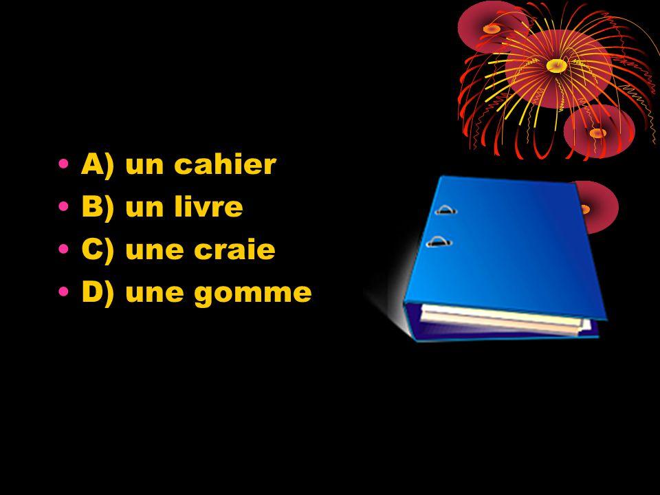 A) un cahier B) un livre C) une craie D) une gomme