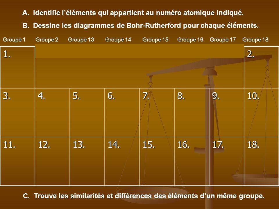 1.2. 3.4.5.6.7.8.9.10. 11.12.13.14.15.16.17.18. A. Identifie léléments qui appartient au numéro atomique indiqué. B. Dessine les diagrammes de Bohr-Ru