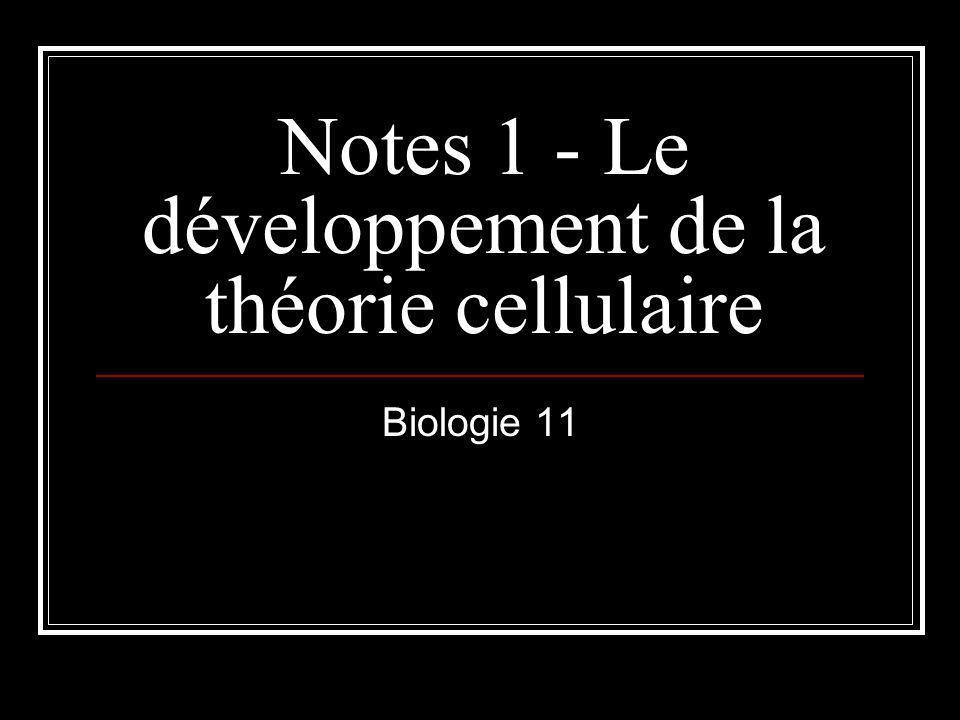 Notes 1 - Le développement de la théorie cellulaire Biologie 11