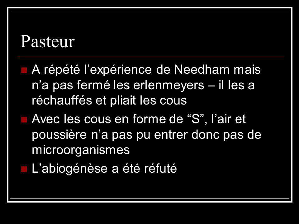Pasteur A répété lexpérience de Needham mais na pas fermé les erlenmeyers – il les a réchauffés et pliait les cous Avec les cous en forme de S, lair et poussière na pas pu entrer donc pas de microorganismes Labiogénèse a été réfuté