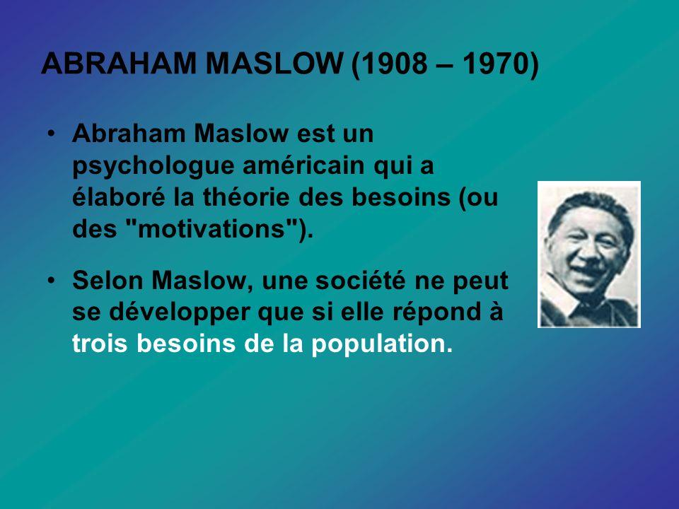 ABRAHAM MASLOW (1908 – 1970) Abraham Maslow est un psychologue américain qui a élaboré la théorie des besoins (ou des motivations ).