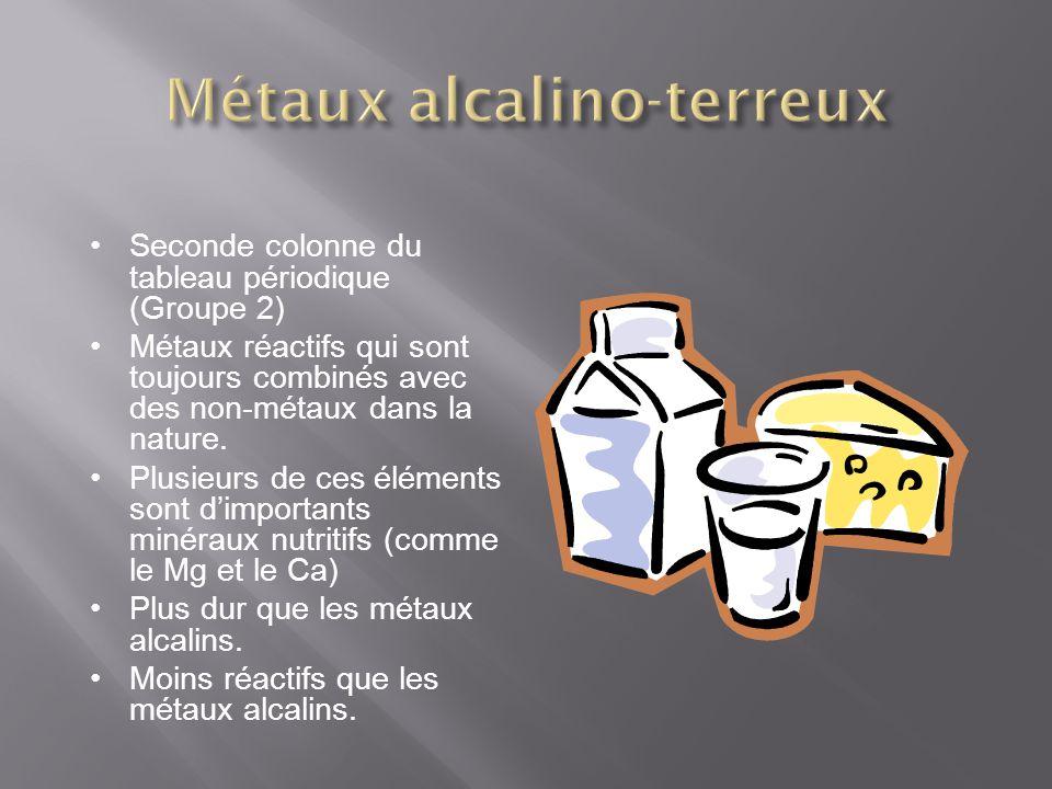 Seconde colonne du tableau périodique (Groupe 2) Métaux réactifs qui sont toujours combinés avec des non-métaux dans la nature. Plusieurs de ces éléme