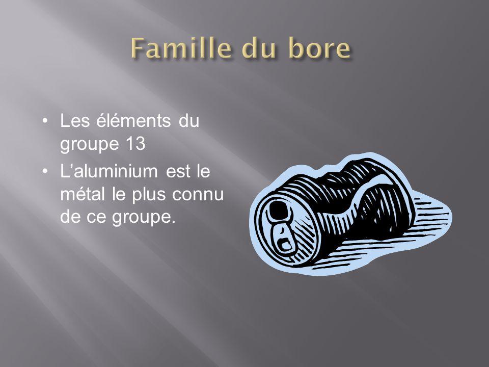 Les éléments du groupe 13 Laluminium est le métal le plus connu de ce groupe.