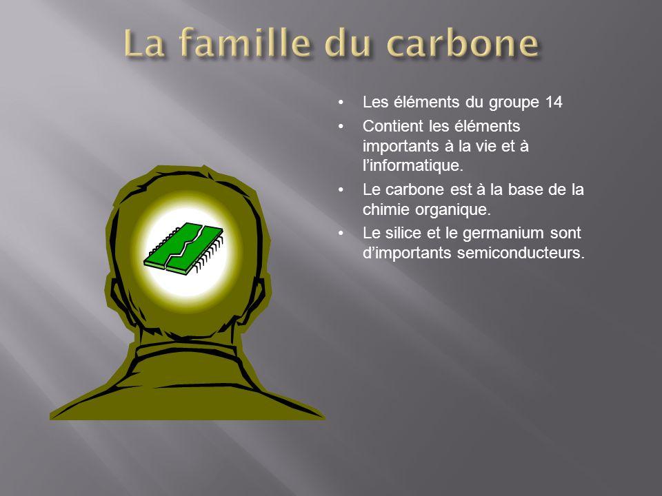Les éléments du groupe 14 Contient les éléments importants à la vie et à linformatique. Le carbone est à la base de la chimie organique. Le silice et