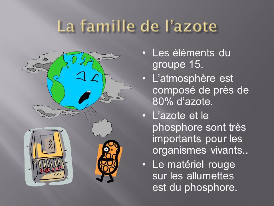 Les éléments du groupe 15. Latmosphère est composé de près de 80% dazote. Lazote et le phosphore sont très importants pour les organismes vivants.. Le