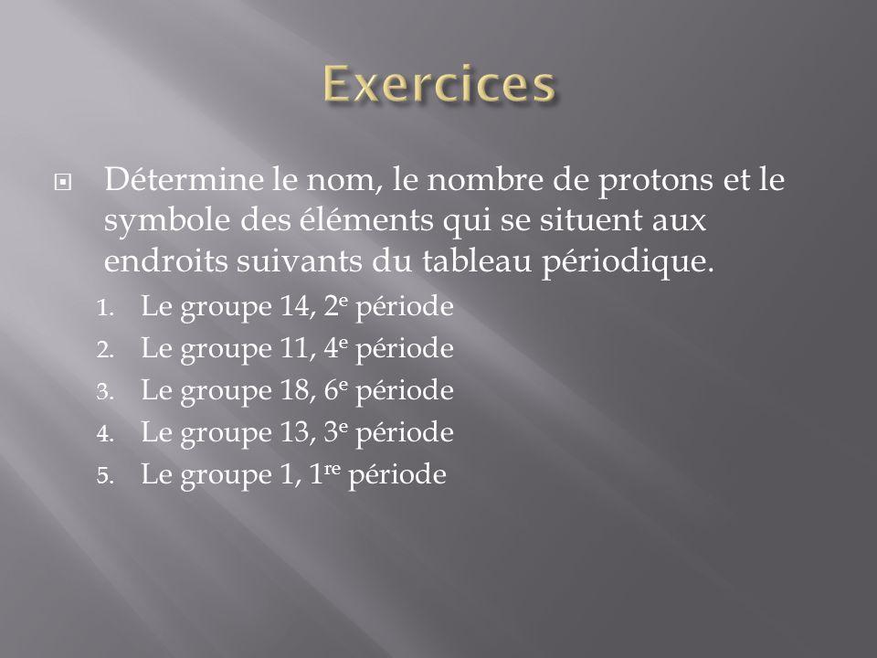Détermine le nom, le nombre de protons et le symbole des éléments qui se situent aux endroits suivants du tableau périodique. 1. Le groupe 14, 2 e pér