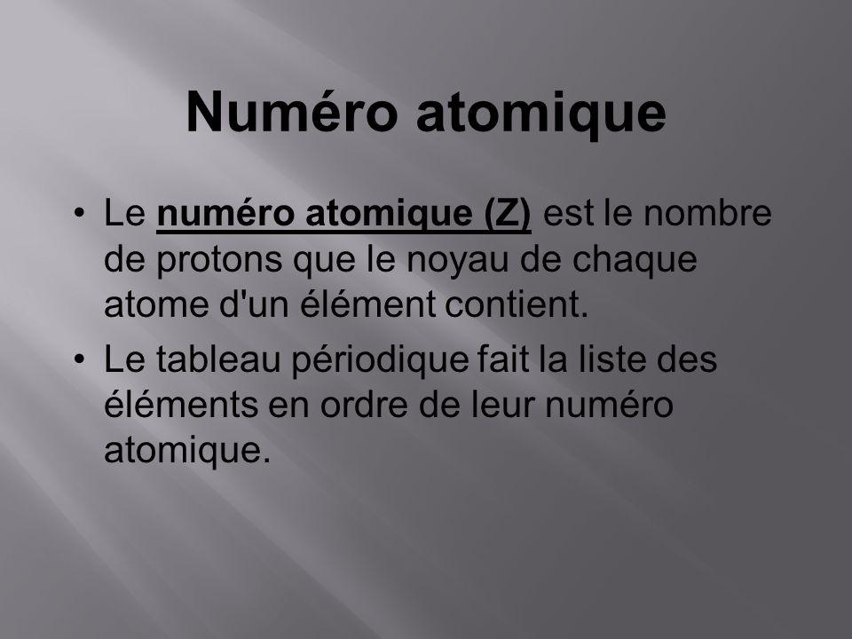 Numéro atomique Le numéro atomique (Z) est le nombre de protons que le noyau de chaque atome d'un élément contient. Le tableau périodique fait la list