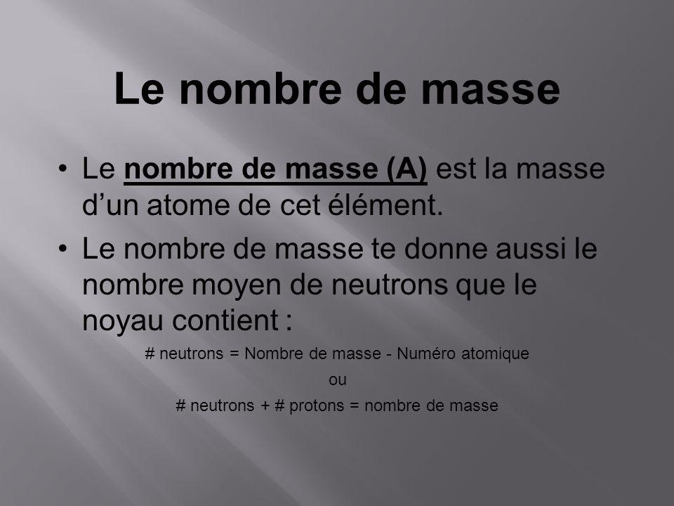 Le nombre de masse Le nombre de masse (A) est la masse dun atome de cet élément. Le nombre de masse te donne aussi le nombre moyen de neutrons que le