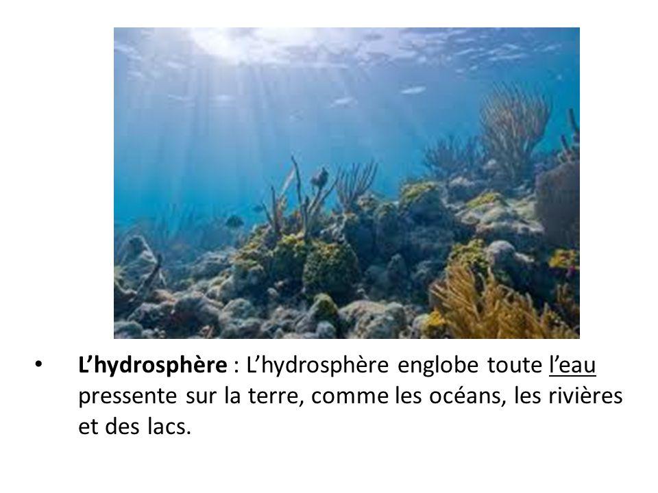 Lhydrosphère : Lhydrosphère englobe toute leau pressente sur la terre, comme les océans, les rivières et des lacs.
