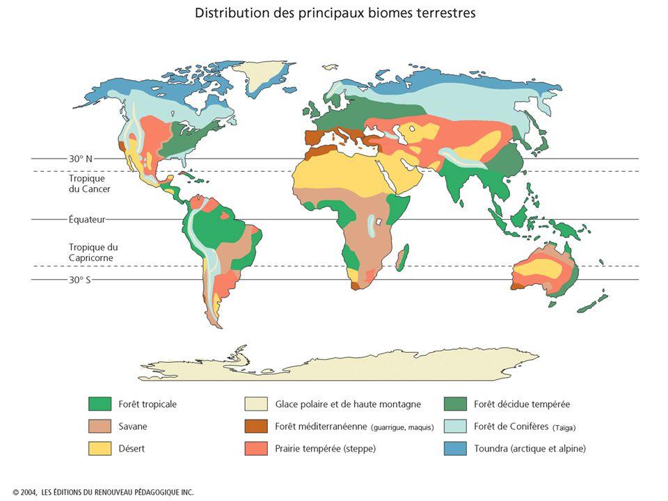 La Surface Terrestre On peut diviser la surface terrestre en six grandes biomes : (p.