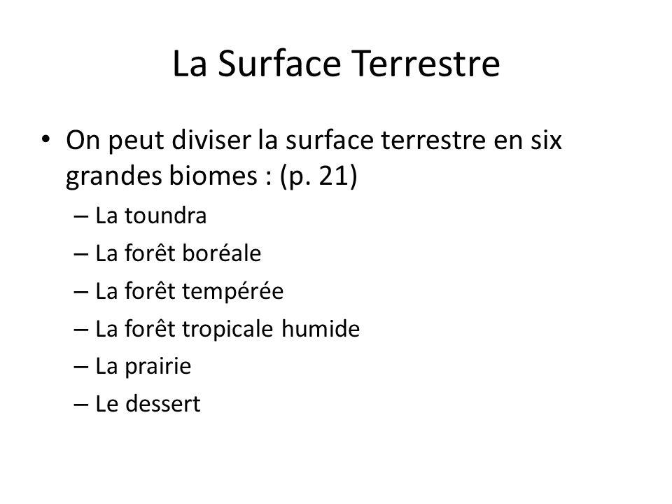 La Surface Terrestre On peut diviser la surface terrestre en six grandes biomes : (p. 21) – La toundra – La forêt boréale – La forêt tempérée – La for