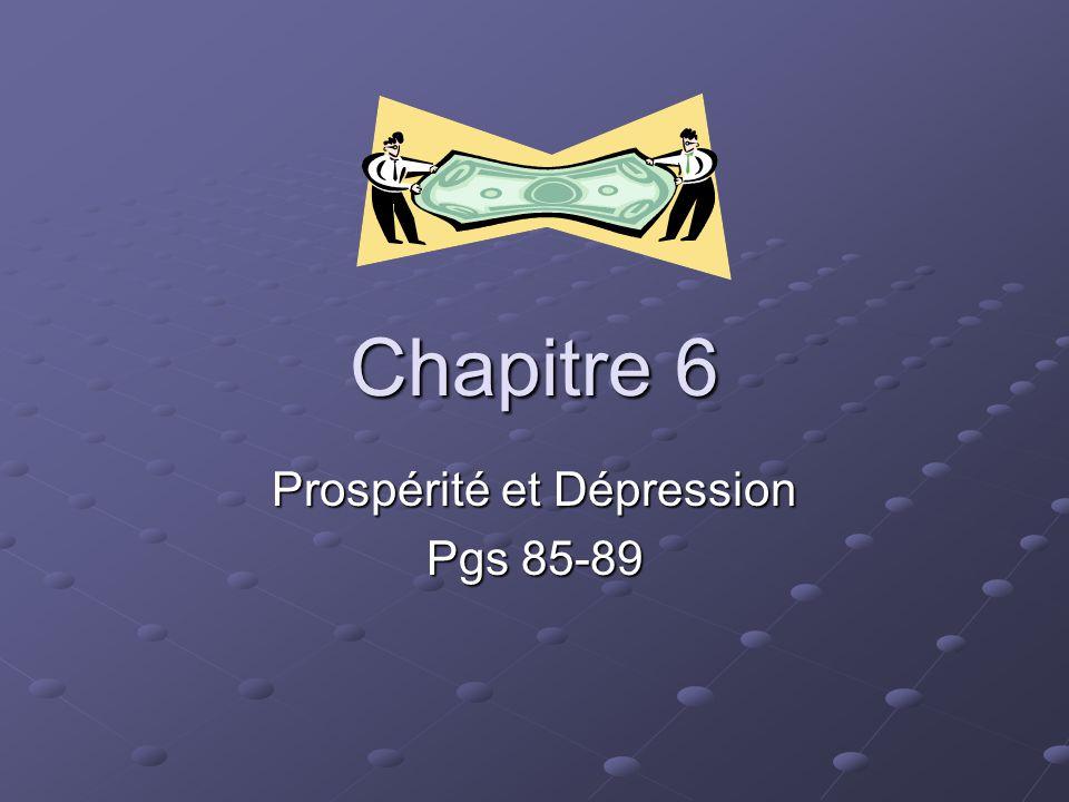 Chapitre 6 Prospérité et Dépression Pgs 85-89