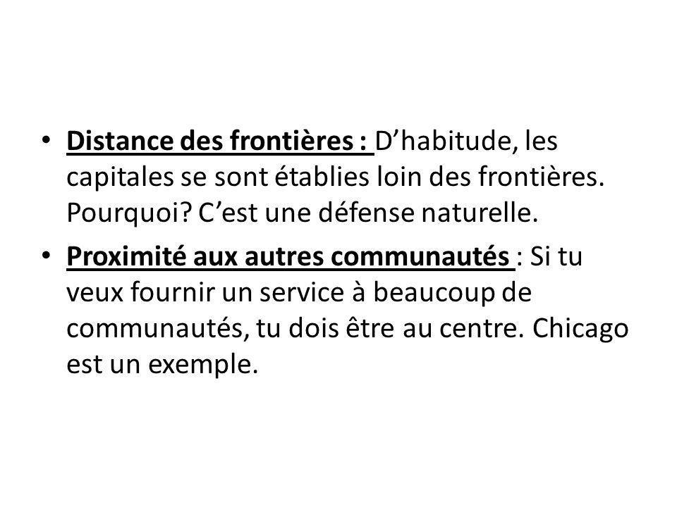 Distance des frontières : Dhabitude, les capitales se sont établies loin des frontières. Pourquoi? Cest une défense naturelle. Proximité aux autres co