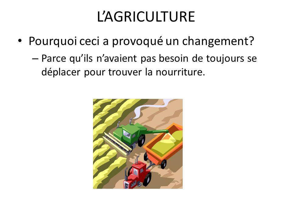 Limportance de lagriculture Pas besoin dun grand nombre de chasseurs Pas besoin dun grand nombre de fermiers, alors les autres personnes étaient disponibles pour la création dautres emplois (ex.