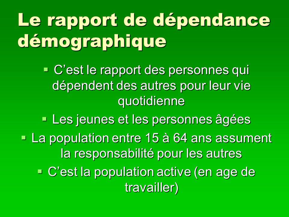 Le rapport de dépendance démographique Cest le rapport des personnes qui dépendent des autres pour leur vie quotidienne Cest le rapport des personnes
