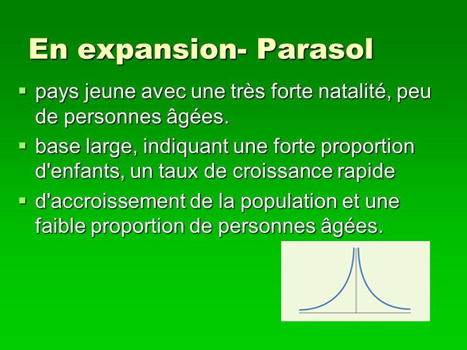 En expansion- Parasol pays jeune avec une très forte natalité, peu de personnes âgées. pays jeune avec une très forte natalité, peu de personnes âgées
