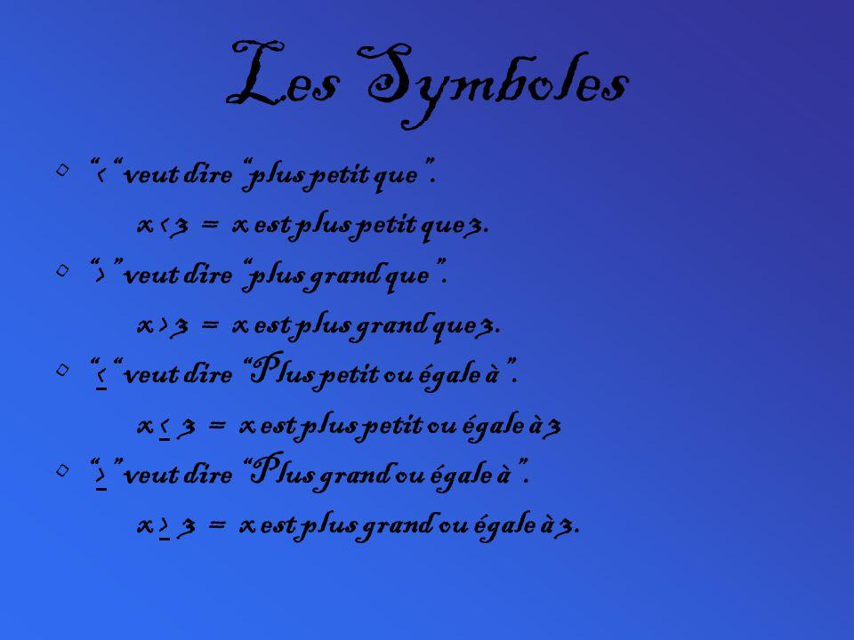 Les Symboles < veut dire plus petit que. x < 3 = x est plus petit que 3. > veut dire plus grand que. x > 3 = x est plus grand que 3. < veut dire Plus
