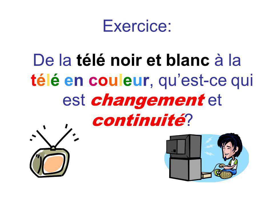 Exercice: De la télé noir et blanc à la télé en couleur, quest-ce qui est changement et continuité