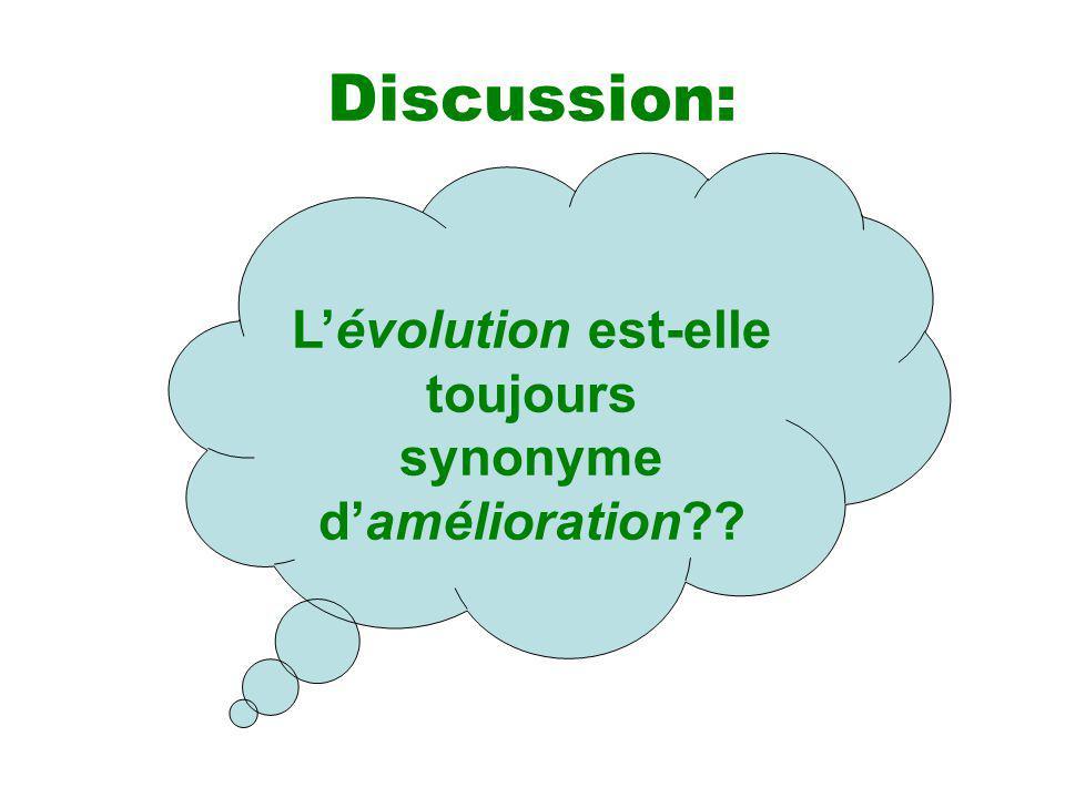 Discussion: Lévolution est-elle toujours synonyme damélioration