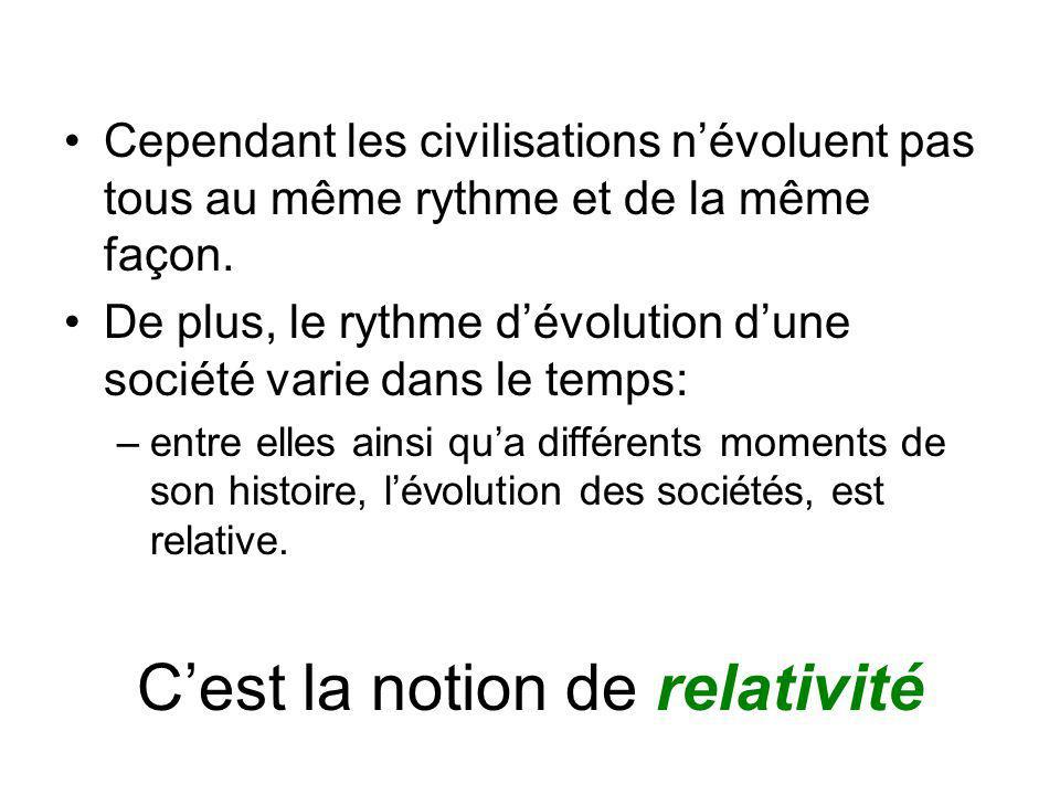 Cependant les civilisations névoluent pas tous au même rythme et de la même façon.