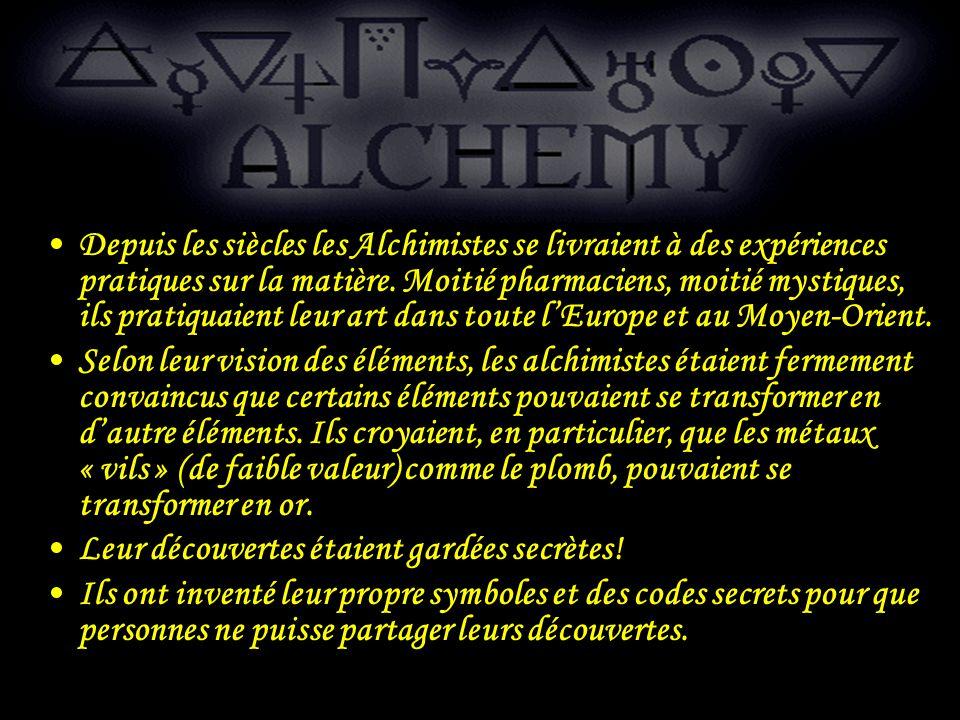 Depuis les siècles les Alchimistes se livraient à des expériences pratiques sur la matière.