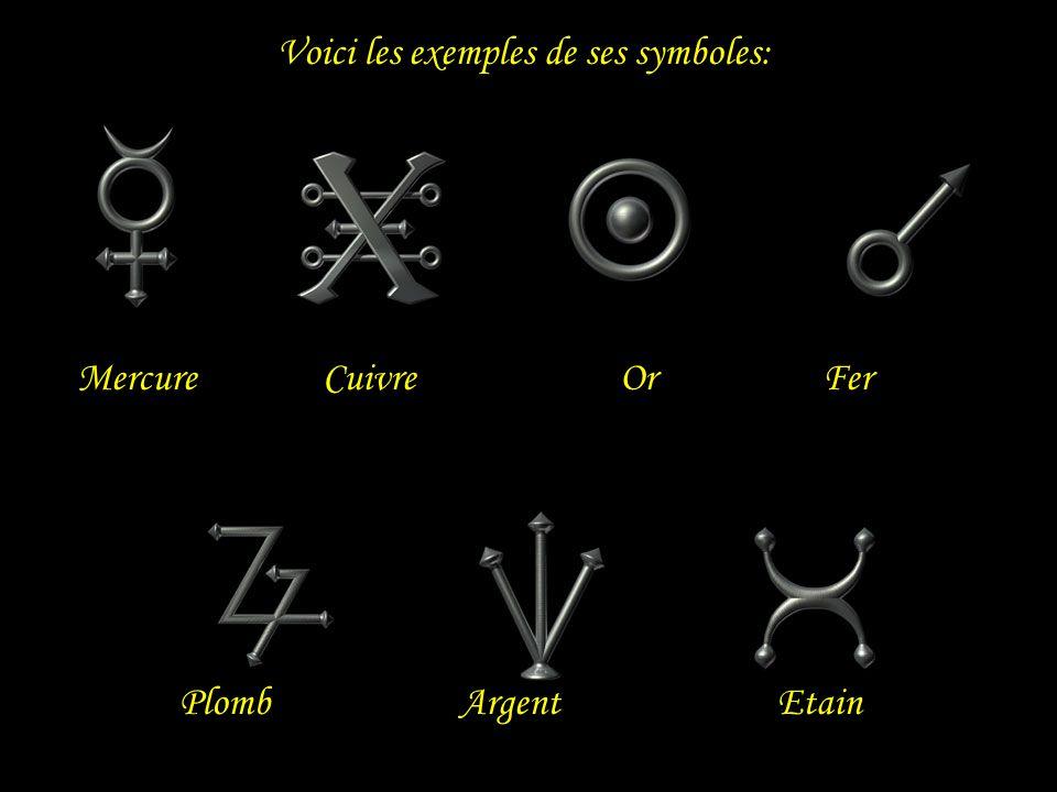 Voici les exemples de ses symboles: Mercure Cuivre Or Fer PlombArgent Etain
