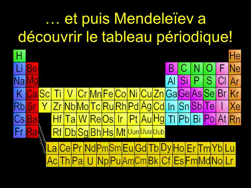 … et puis Mendeleïev a découvrir le tableau périodique!