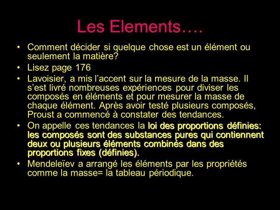Les Elements…. Comment décider si quelque chose est un élément ou seulement la matière? Lisez page 176 Lavoisier, a mis laccent sur la mesure de la ma