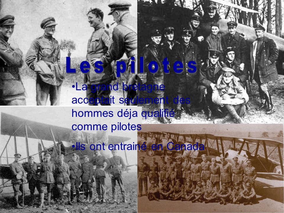La grand bretagne acceptait seulement des hommes déja qualifié comme pilotes Ils ont entrainé en Canada