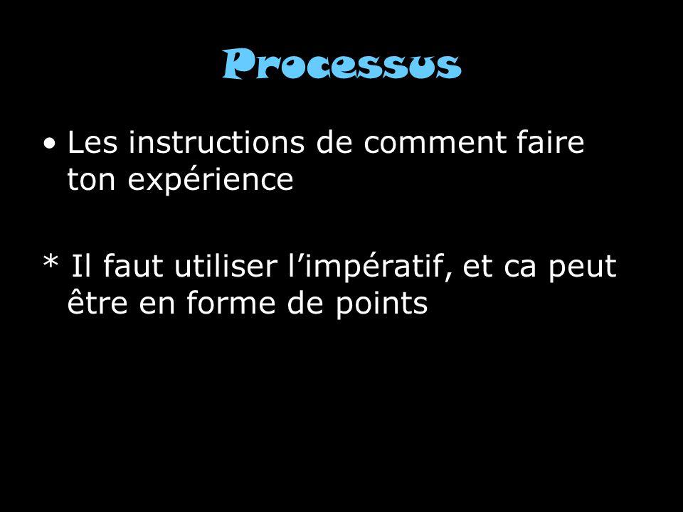 Processus Les instructions de comment faire ton expérience * Il faut utiliser limpératif, et ca peut être en forme de points