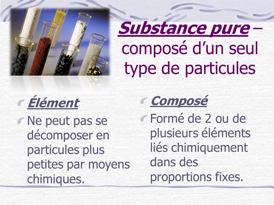 Substance pure – composé dun seul type de particules Élément Ne peut pas se décomposer en particules plus petites par moyens chimiques. Composé Formé