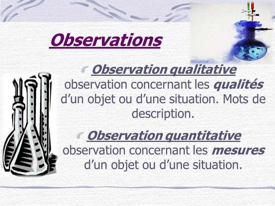 Observations Observation qualitative observation concernant les qualités dun objet ou dune situation. Mots de description. Observation quantitative ob