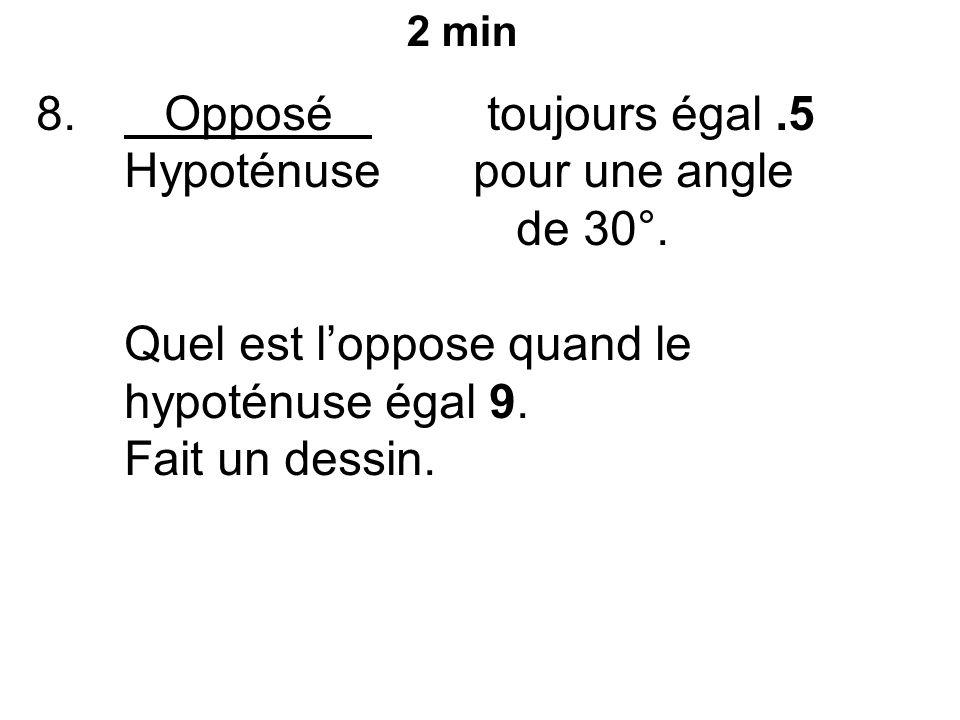 8. Opposé toujours égal.5 Hypoténuse pour une angle de 30°.